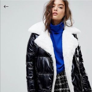 River Island Faux Fur Linned Patent Puffer Jacket
